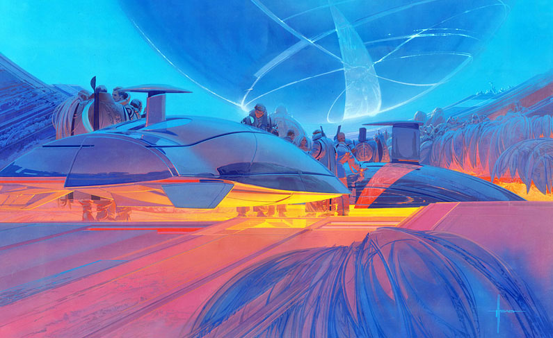 CyberRace illustration by Syd Mead
