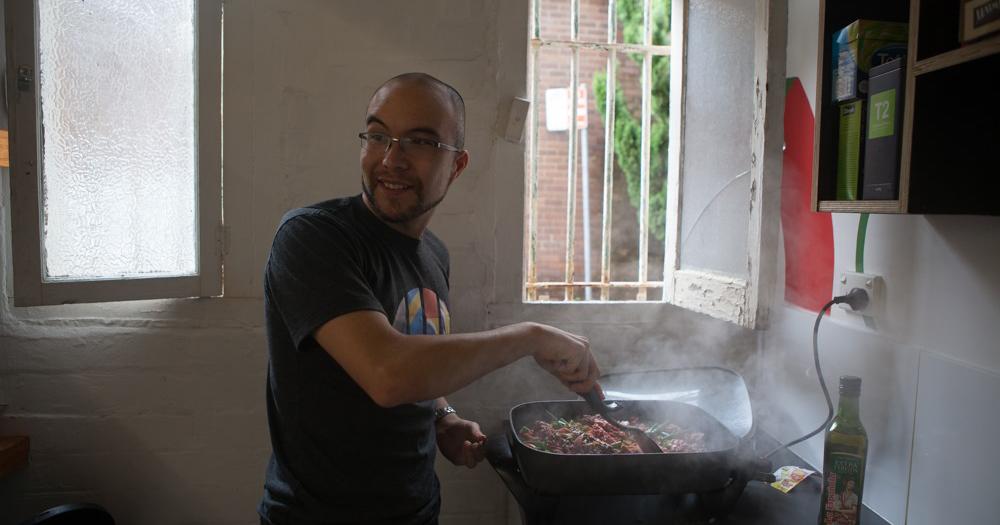 Cameron Adams on the electric wok